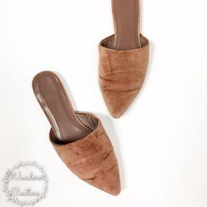 Joie Adiel Velvet Pointed Toe Flat Mules